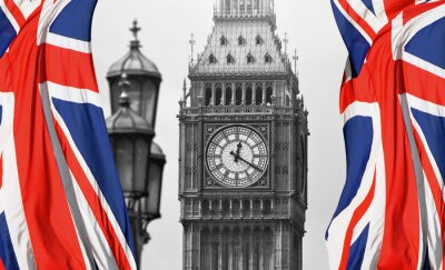 Fotomural Big Ben in London and English flag