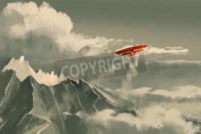 Fotomural Biplano vermelho voando sobre a montanha, ilustração, pintura digital