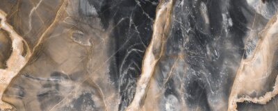 Fotomural Black marble texture background with golden veins, Black marble natural pattern for background, Abstract black white and gold, Black and yellow marble for ceramic wall and floor tiles.