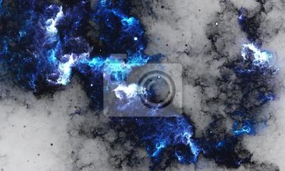 Fotomural BlueNebula - pintura abstrata de Digitas de uma galáxia com as estrelas no espaço