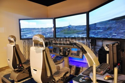Fotomural Boeing flight simulator at Singapore Airshow February 03, 2010 in Singapore