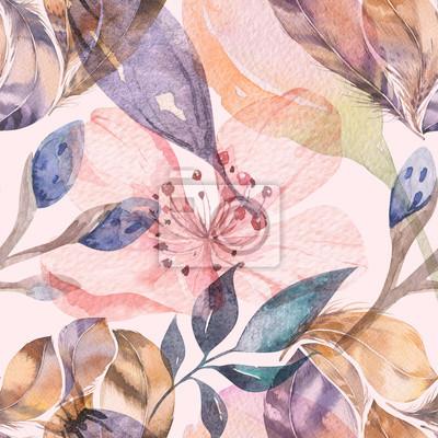 Fotomural Boho sem costura padrão aquarela de penas e flores silvestres, folhas, flores ramos, ilustração, amor e penas, boêmio decoração primavera flor