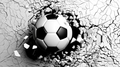 Fotomural Bola de futebol quebrando à força através de uma parede branca. Ilustração 3d.