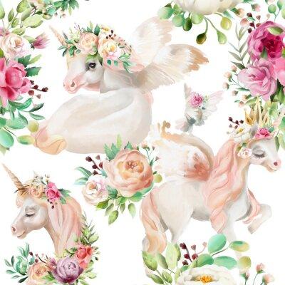 Fotomural Bonita, aquarela unicórnios princesa, pegasus na coroa de ouro e floral, flores peônia e buquês de rosas e pombo no padrão sem costura de fundo branco
