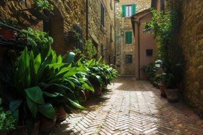 Fotomural Bonitas, ruas, medieval, toscana, vila, Itália, Pienz