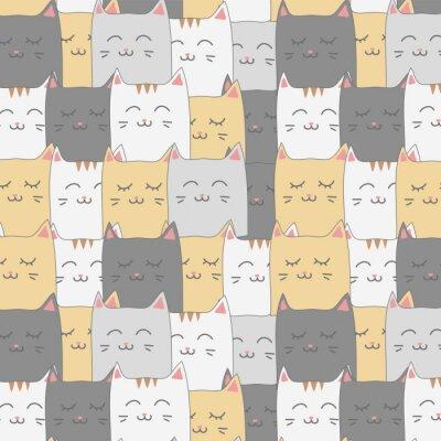 Fotomural Bonito adorável gato gatinho sem costura padrão fundo papel de parede