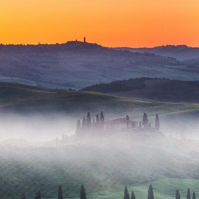 Fotomural Bonito, Tuscany, paisagem, amanhecer, itália