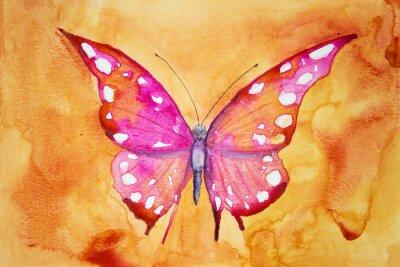 Fotomural Borboleta cor-de-rosa com fundo alaranjado. A técnica dabbing dá um efeito de foco suave devido à rugosidade superficial alterada do papel.