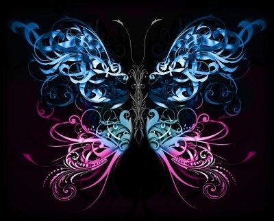 Fotomural borboleta feita de formas abstratas floresça