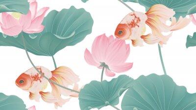 Fotomural Botanical seamless pattern, pink lotus flowers and goldfish on white background, pastel vintage style