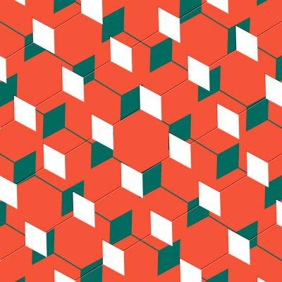 Fotomural Box abstrata cubista arte ilusão em laranja e verde