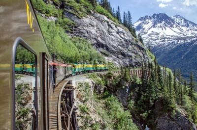 Fotomural Branca Passagem A estrada de ferro de Yukon viaja ao longo dos penhascos que dirigem para Skagway, Alaska