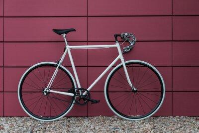 Fotomural Branco bicicleta fixie na parede rosa