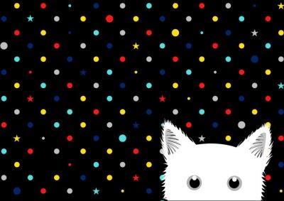 Fotomural Branco gato pontos coloridos estrela fundo ilustração vetorial