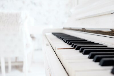 Fotomural Branco piano vintage em um quarto branco