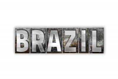 Fotomural Brasil Tipo Isolado Metal Tipografia