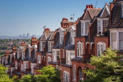 Fotomural Brick casas em um tiro panorâmico de Muswell Hill, Londres, Reino Unido