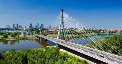Fotomural Bridge in Warsaw over Vistula river