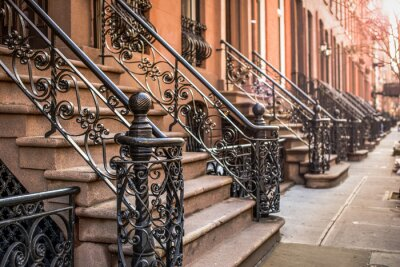 Fotomural Brownstone Apartments in the Chelsea district of New York