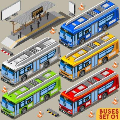 Fotomural Bus Set 01 Vehicle isométrico