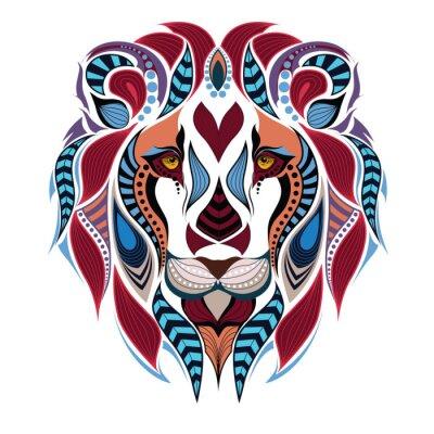 Fotomural Cabeça colorida modelada do leão. Projeto africano / indiano / totem / tatuagem. Pode ser usado para o projeto de um t-shirt, de um saco, de um cartão e de um cartaz.