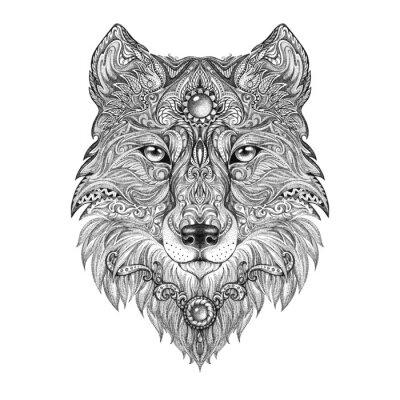 Fotomural Cabeça de lobo Tattoo fera de rapina
