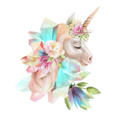 Fotomural Cabeça de unicórnio linda, fofo, aquarela com flores, coroa floral, buquê e cristais mágicos isolados no branco