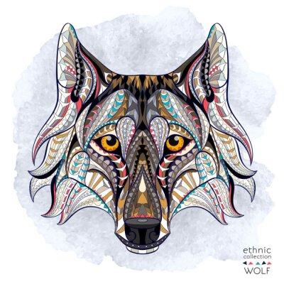 Fotomural Cabeça modelada do lobo no fundo do grunge. Projeto africano / indiano / totem / tatuagem. Pode ser usado para o projeto de um t-shirt, de um saco, de um cartão postal, de um poster e assim por diante