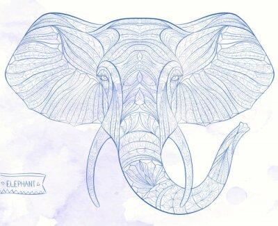 Fotomural Cabeça modelada étnica do elefante no fundo do grange / africano / indiano / totem / projeto do tatuagem. Uso para a cópia, cartazes, t-shirt.