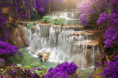 Fotomural Cachoeira bonita na floresta do outono, cachoeira profunda da floresta, província de Kanchanaburi, Tailândia