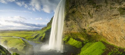 Fotomural Cachoeira, queda, céu, Islândia