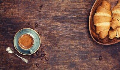 Fotomural Café da manhã com café e croissants