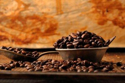 Fotomural Café, feijões, escuro, chocolate, tigela, vindima, estilo
