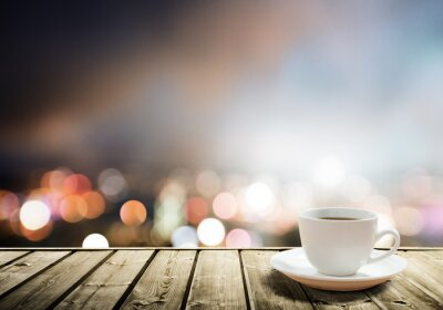 Fotomural café na mesa na noite da cidade