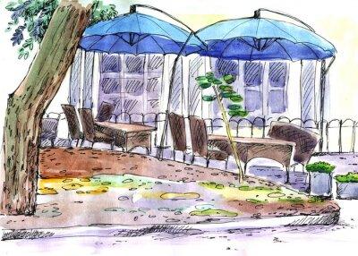 Fotomural Café na rua. Guarda-chuvas azuis, aquarela
