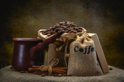 Fotomural Café, saco, escuro, fundo