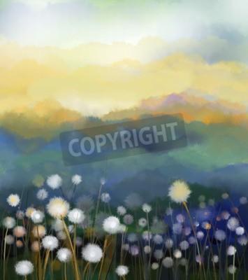 Fotomural Campo de flores branco abstrato da pintura a óleo na cor macia. Pinturas a óleo flor branca do dente-de-leão nos prados. Natureza sazonal floral da mola com o monte azul - verde no fundo.
