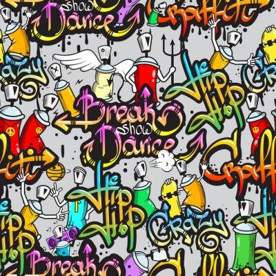 Fotomural Caracteres do Graffiti padrão sem emenda