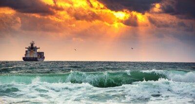 Fotomural Carga, navio, containers, amanhecer, luz