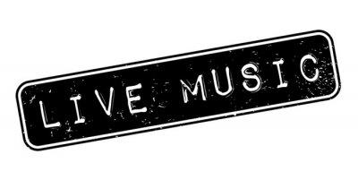 Fotomural Carimbo de borracha de música ao vivo. Design grunge com arranhões de poeira. Os efeitos podem ser facilmente removidos para um olhar limpo e nítido. A cor é facilmente alterada.