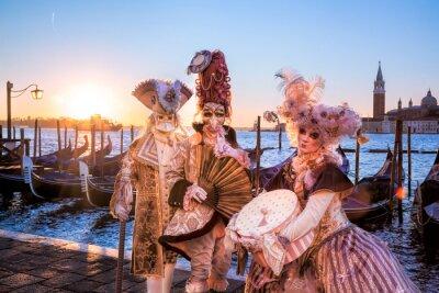 Fotomural Carnaval, máscaras, amanhecer, Veneza, Itália