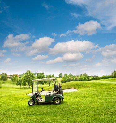 Fotomural Carrinho de golfe em um campo de golfe. Campo verde e céu azul nebuloso