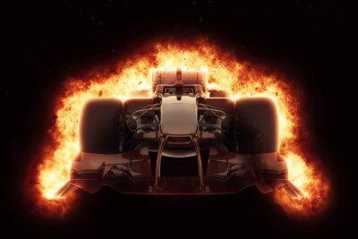 Fotomural Carro de corrida 3D com efeito de explosão ardente