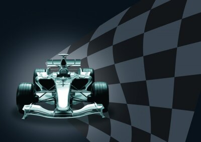 Fotomural carro de Fórmula 1 e bandeira
