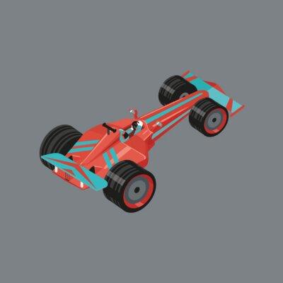 Fotomural Carro desportivo isométrico. Desenhos animados isolados do vetor auto para competir. Automóvel vermelho do esporte com um piloto para dentro.