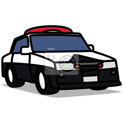 Carro Dos Desenhos Animados 51 Carro De Policia Fotomural