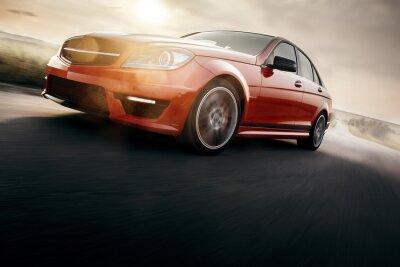Fotomural Carro esporte vermelho velocidade de condução rápida na estrada asfaltada