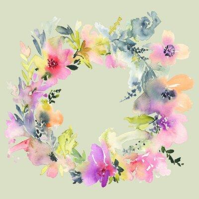 Fotomural Cartão com flores. Cores Pastel. Feito à mão. Pintura da aguarela. Casamento, aniversário, Dia das Mães. Chuveiro nupcial.