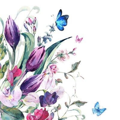 Fotomural Cartão da aguarela com ervilhas doces, tulipas