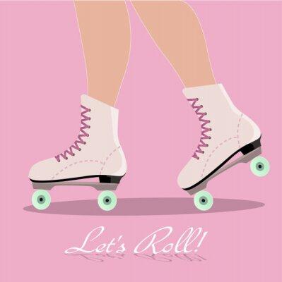 Fotomural Cartão do convite com patins botas